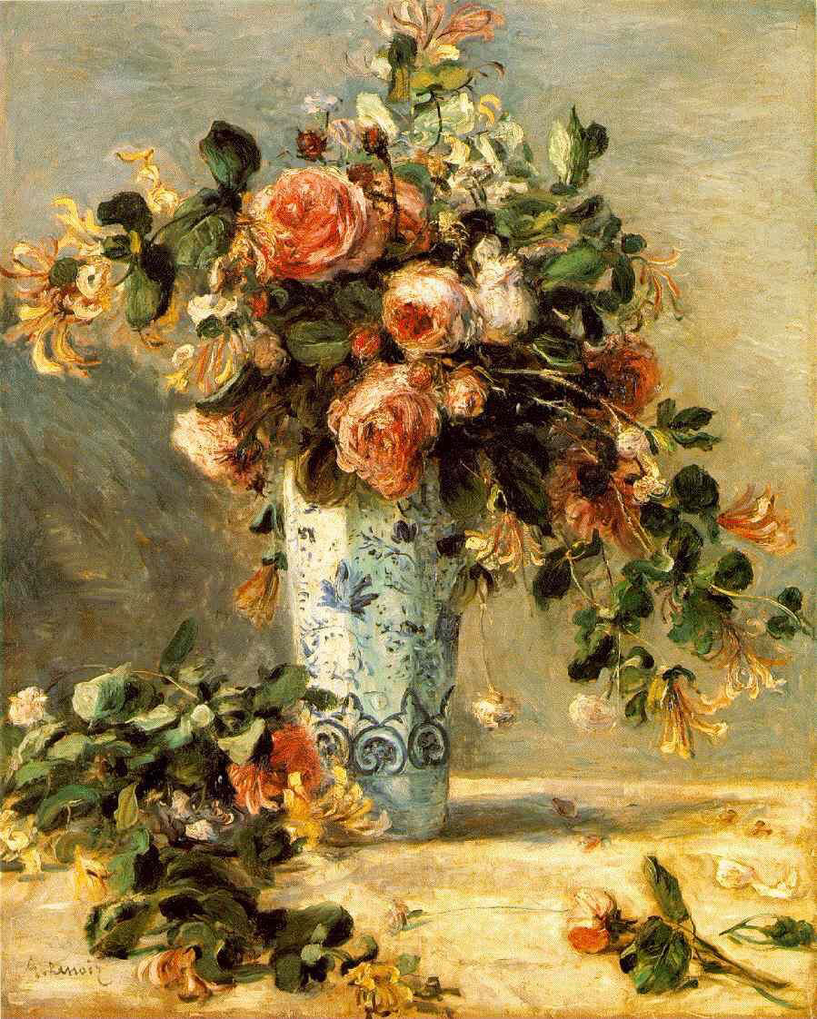 Roses and jasmine in a delft vase 1881